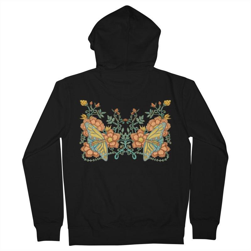 Butterflies in Flowers and Vines Men's Zip-Up Hoody by jandeangelis's Artist Shop