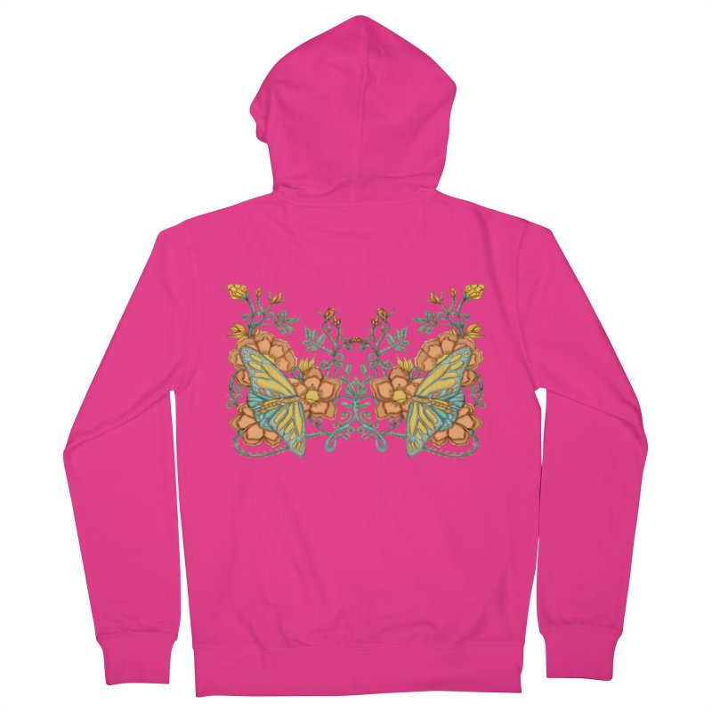 Butterflies in Flowers and Vines Men's French Terry Zip-Up Hoody by jandeangelis's Artist Shop