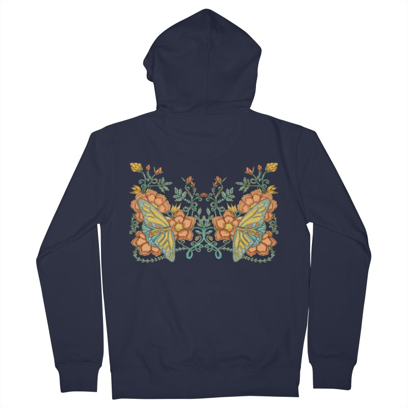 Butterflies in Flowers and Vines Men's Zip-Up Hoody by jandeangelis's Artist Shop