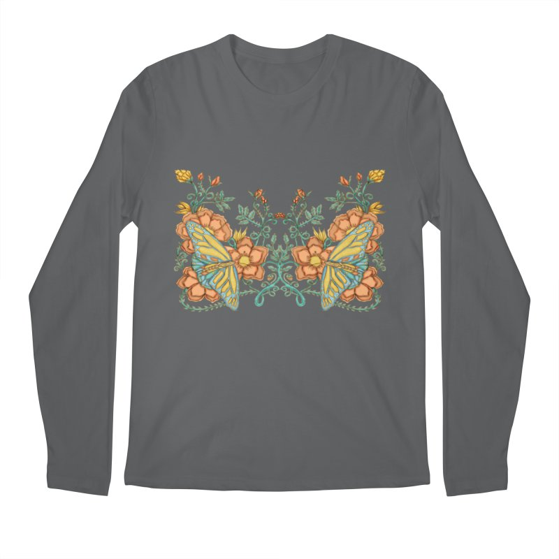 Butterflies in Flowers and Vines Men's Longsleeve T-Shirt by jandeangelis's Artist Shop