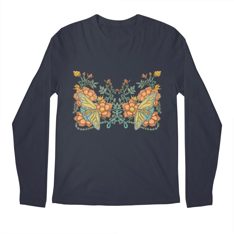Butterflies in Flowers and Vines Men's Regular Longsleeve T-Shirt by jandeangelis's Artist Shop