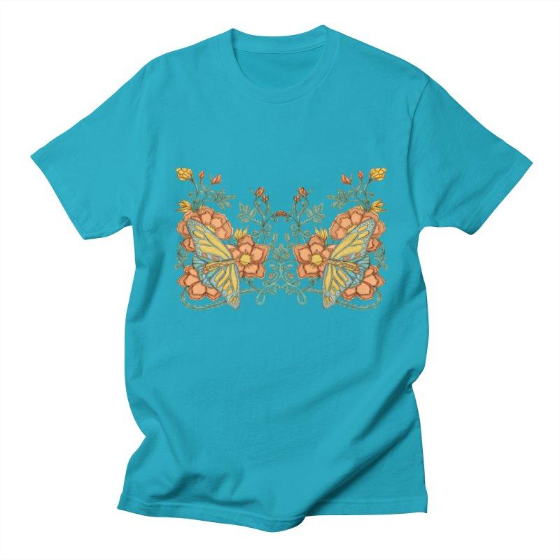 Butterflies in Flowers and Vines Men's T-Shirt by jandeangelis's Artist Shop