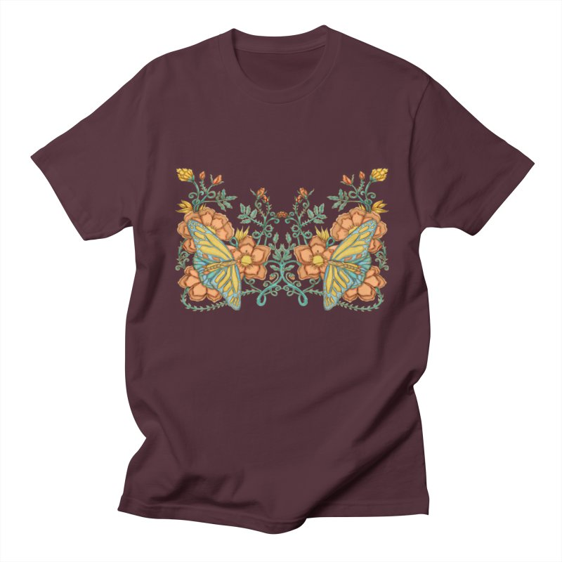 Butterflies in Flowers and Vines Men's Regular T-Shirt by jandeangelis's Artist Shop
