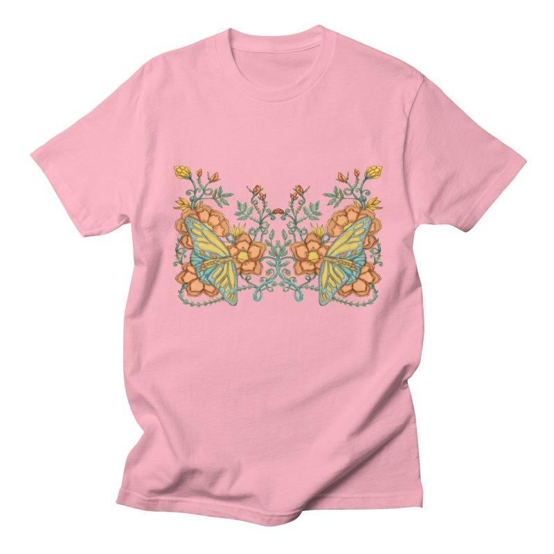 Butterflies in Flowers and Vines Men's Regular T-Shirt by jandeangelis's Artist Shop
