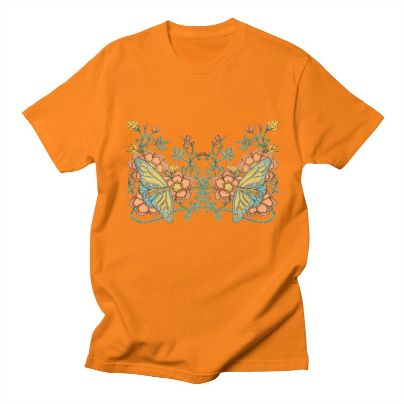 Butterflies in Flowers and Vines Men's T-Shirt by jandeangelis's Artist Shop