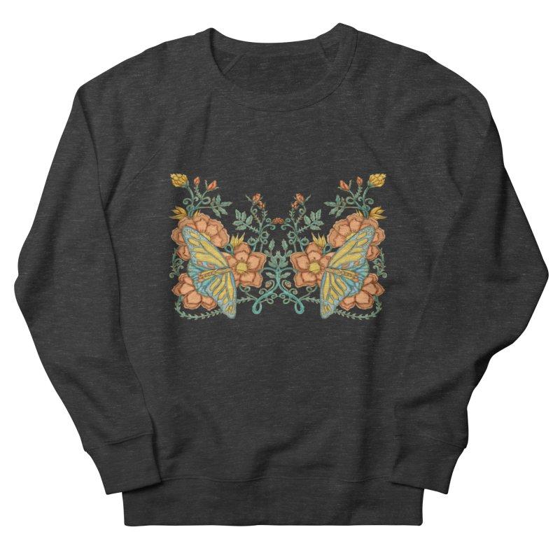Butterflies in Flowers and Vines Women's French Terry Sweatshirt by jandeangelis's Artist Shop