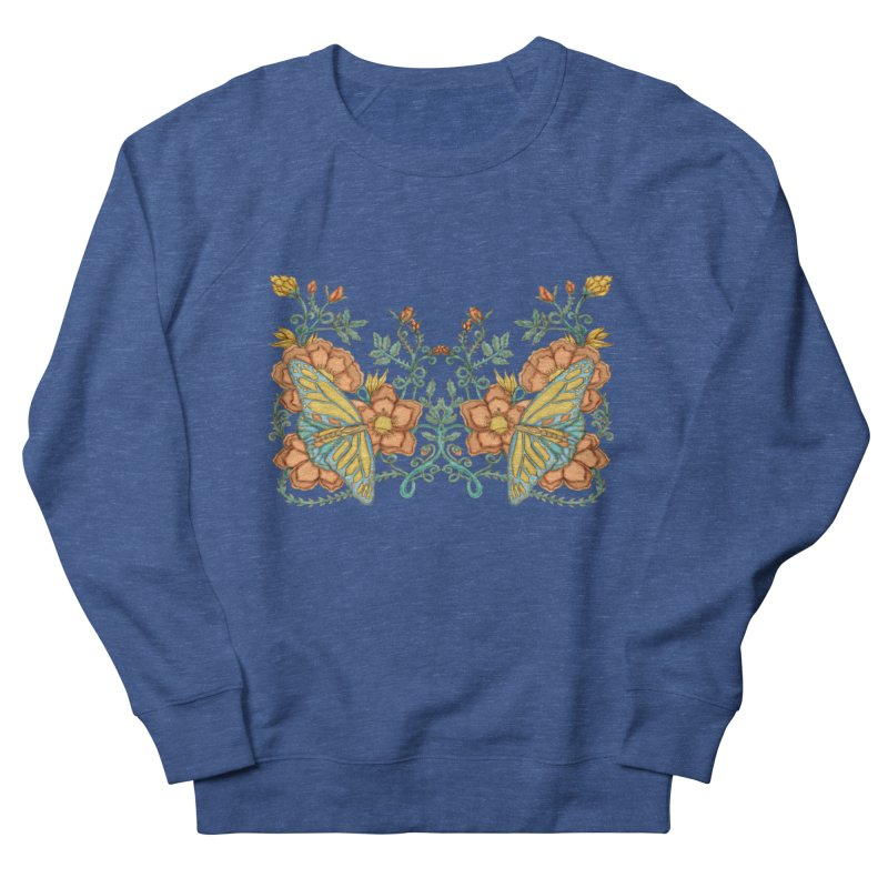 Butterflies in Flowers and Vines Men's French Terry Sweatshirt by jandeangelis's Artist Shop