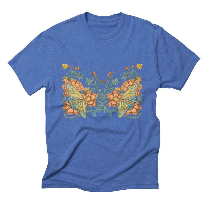 Butterflies in Flowers and Vines Men's Triblend T-Shirt by jandeangelis's Artist Shop
