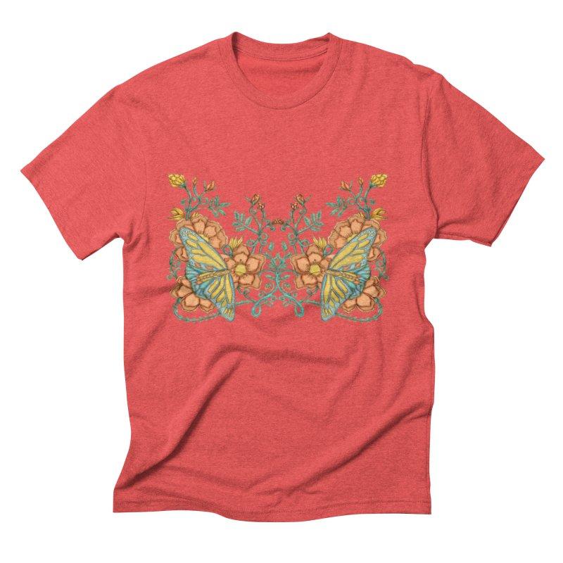 Butterflies in Flowers and Vines Men's Triblend T-Shirt by jandeangelis's Artist Shop