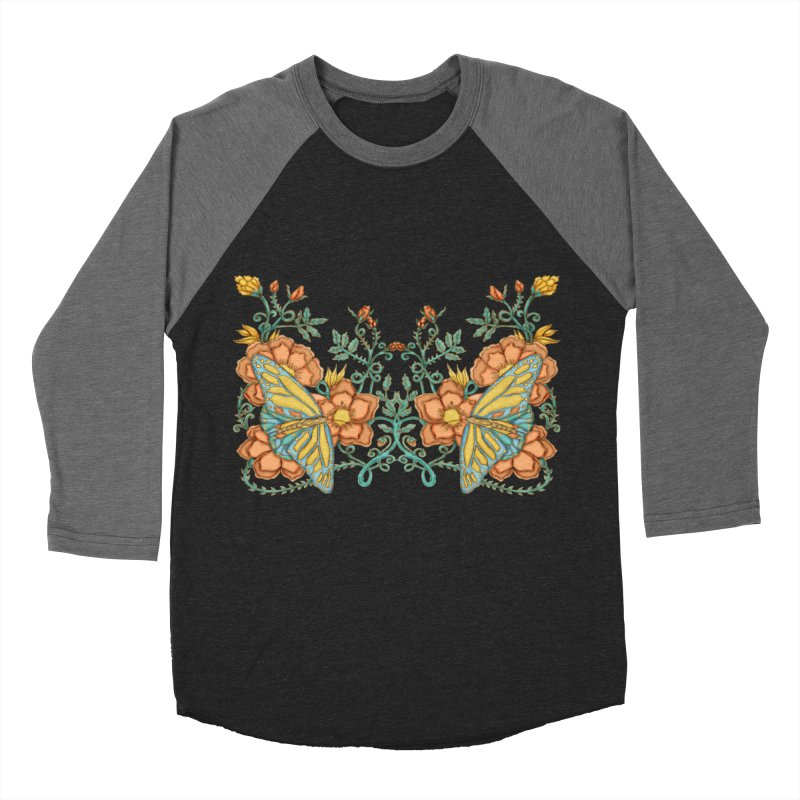 Butterflies in Flowers and Vines Women's Baseball Triblend T-Shirt by jandeangelis's Artist Shop