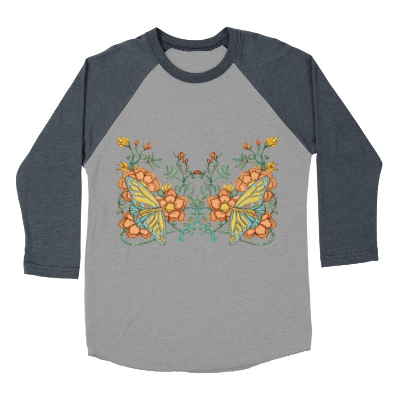 Butterflies in Flowers and Vines Women's Baseball Triblend T-Shirt by jandeangelis's Artist Shop