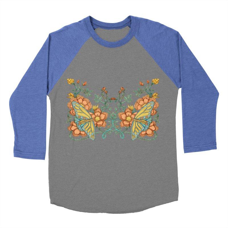 Butterflies in Flowers and Vines Men's Baseball Triblend Longsleeve T-Shirt by jandeangelis's Artist Shop