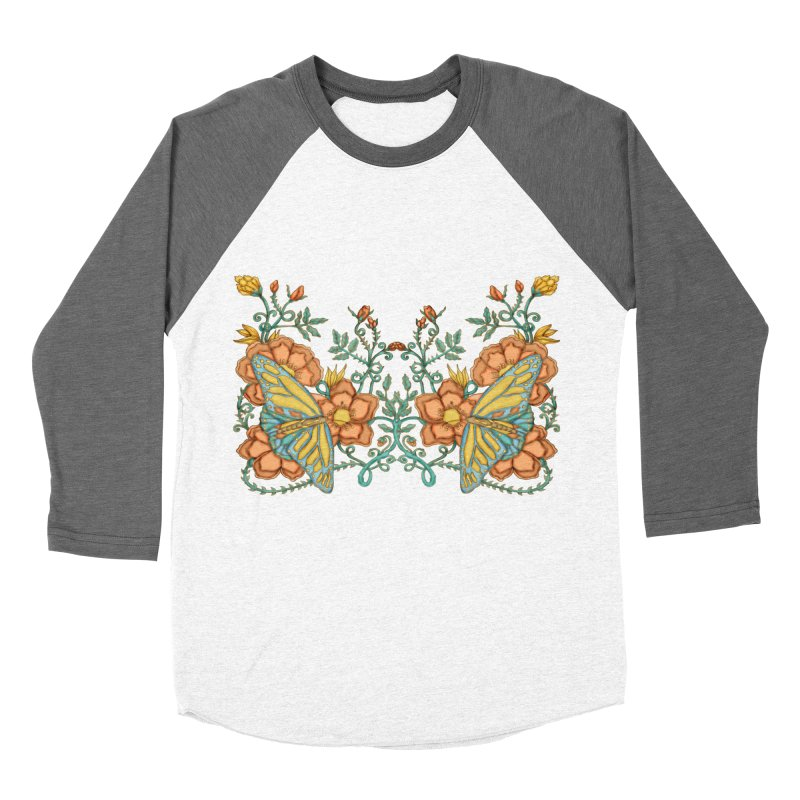 Butterflies in Flowers and Vines Men's Baseball Triblend Longsleeve T-Shirt by jandeangelis's Artist Shop