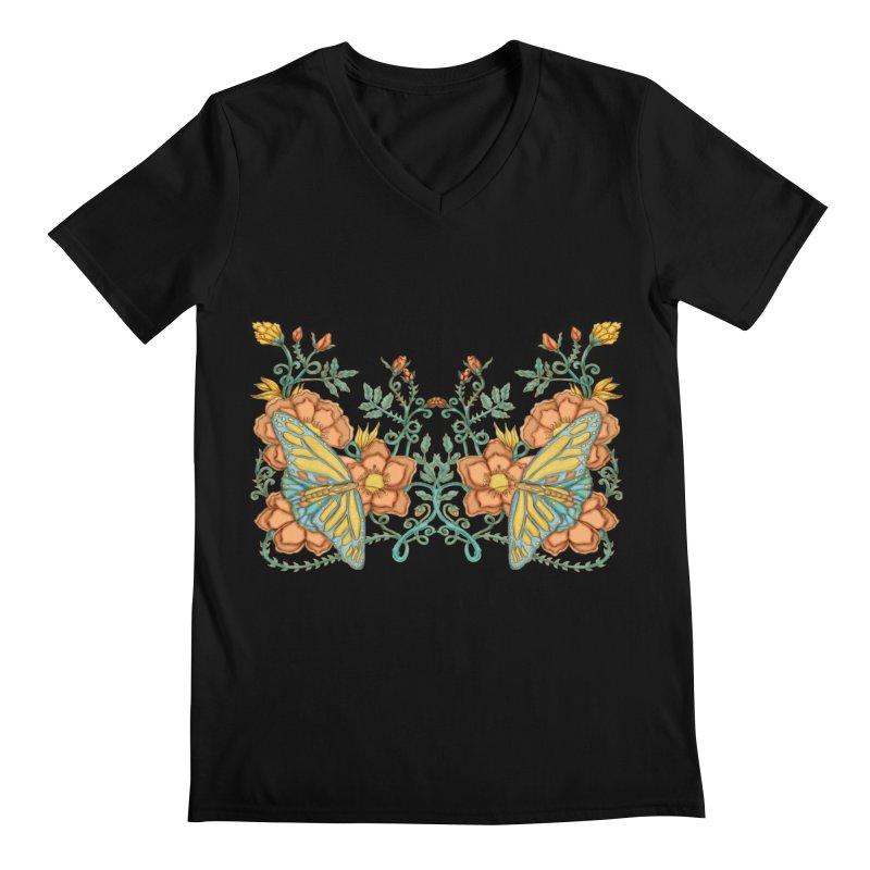 Butterflies in Flowers and Vines Men's Regular V-Neck by jandeangelis's Artist Shop