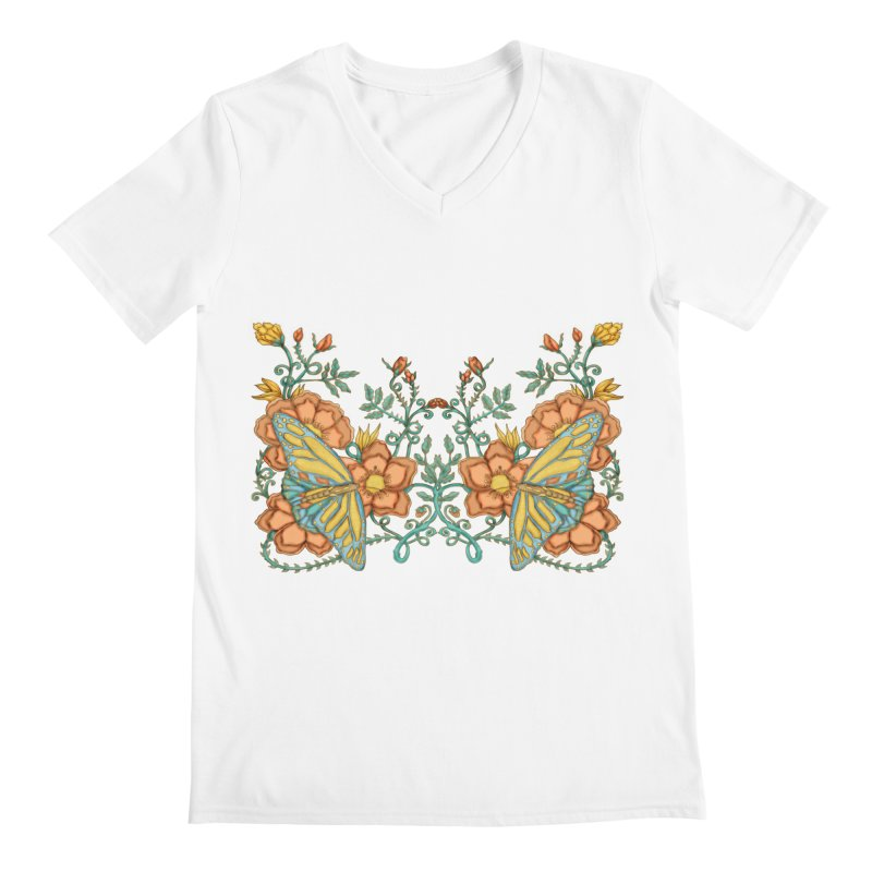 Butterflies in Flowers and Vines Men's V-Neck by jandeangelis's Artist Shop