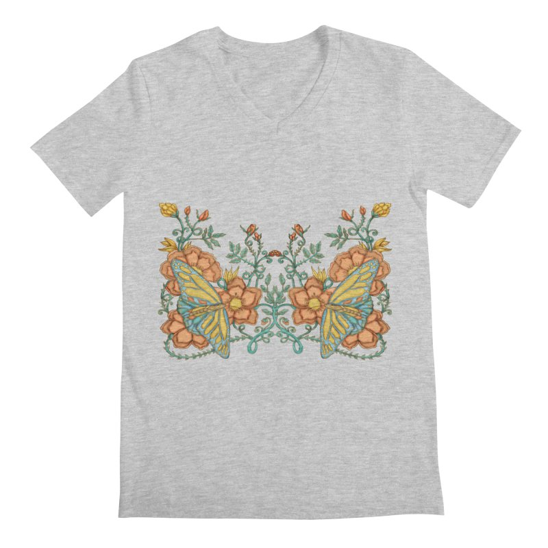 Butterflies in Flowers and Vines Men's Regular V-Neck by jandeangelis's Artist Shop