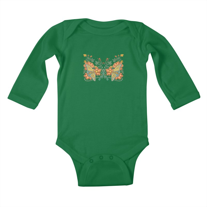 Butterflies in Flowers and Vines Kids Baby Longsleeve Bodysuit by jandeangelis's Artist Shop