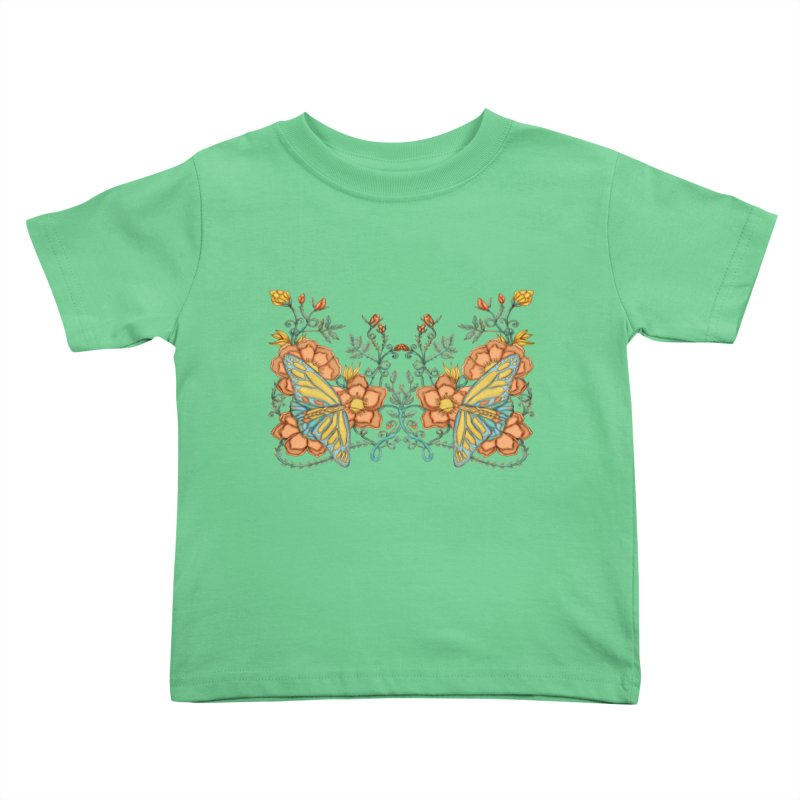 Butterflies in Flowers and Vines Kids Toddler T-Shirt by jandeangelis's Artist Shop