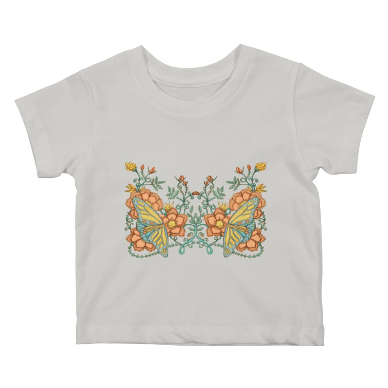 Butterflies in Flowers and Vines Kids Baby T-Shirt by jandeangelis's Artist Shop