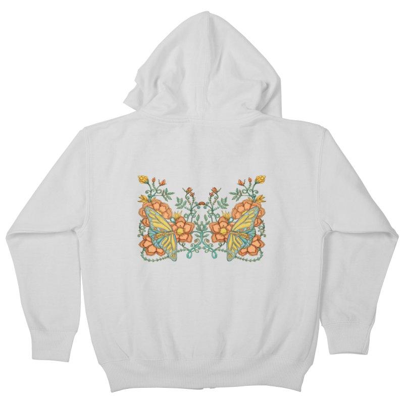 Butterflies in Flowers and Vines Kids Zip-Up Hoody by jandeangelis's Artist Shop