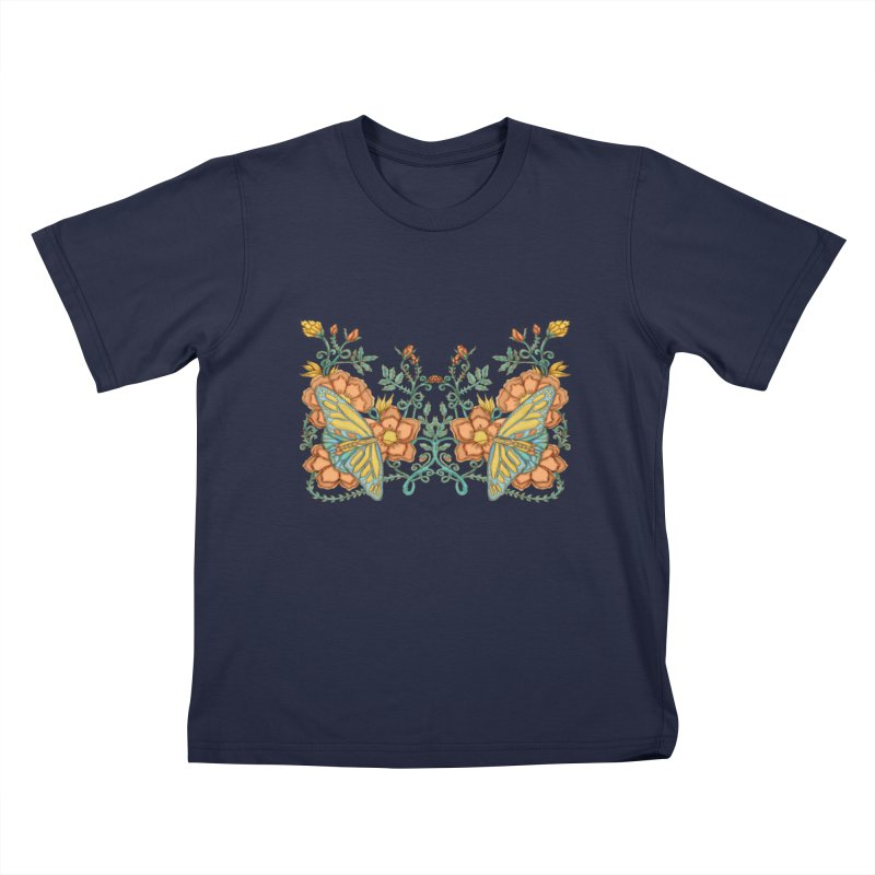 Butterflies in Flowers and Vines Kids T-Shirt by jandeangelis's Artist Shop