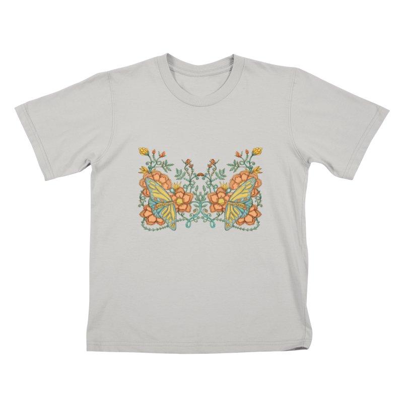 Butterflies in Flowers and Vines Kids T-Shirt by jandeangelis's Artist Shop