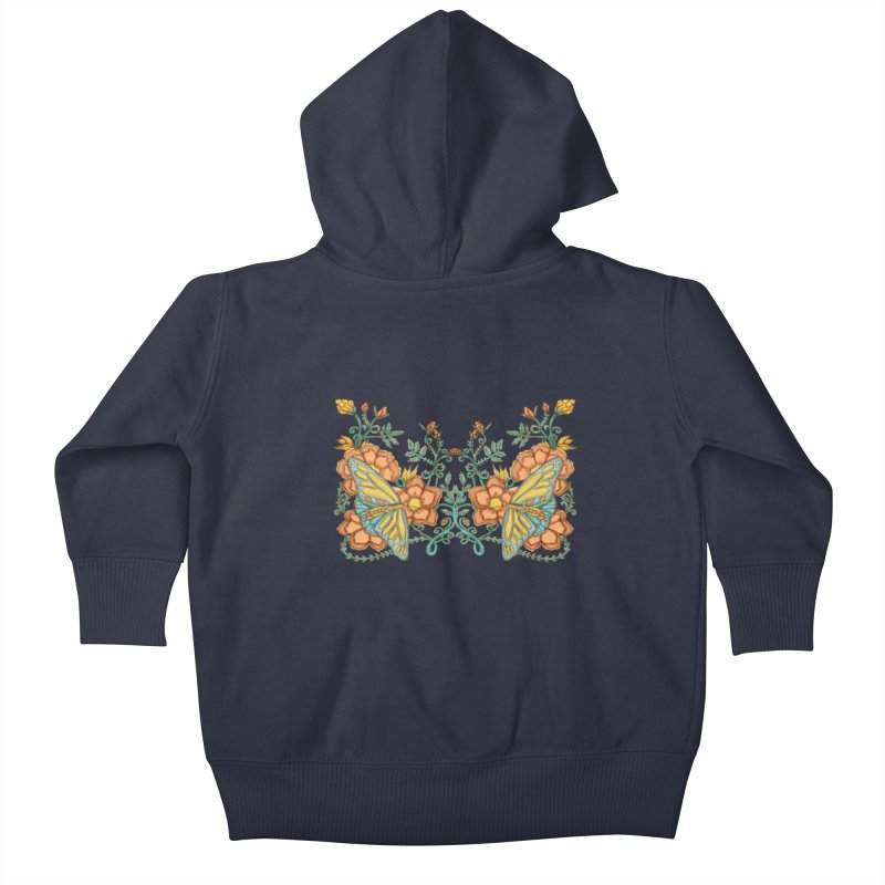 Butterflies in Flowers and Vines Kids Baby Zip-Up Hoody by jandeangelis's Artist Shop
