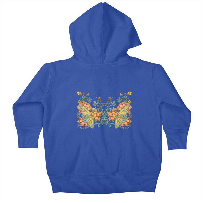 Butterflies in Flowers and Vines Kids Baby Zip-Up Hoody by jandeangelis's Artist Shop