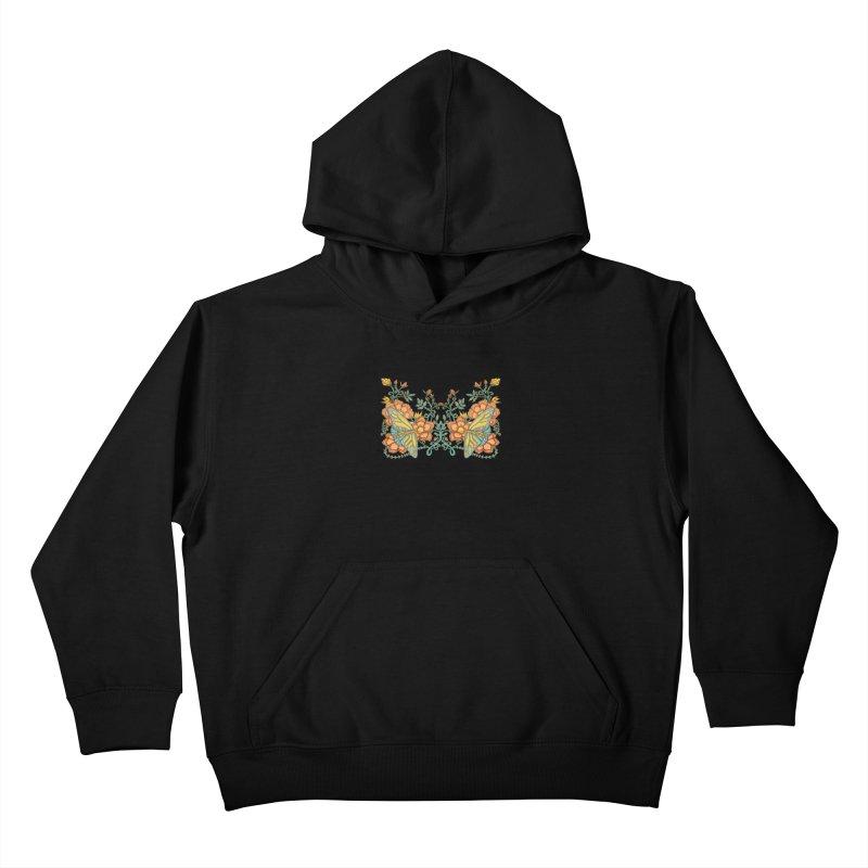 Butterflies in Flowers and Vines Kids Pullover Hoody by jandeangelis's Artist Shop