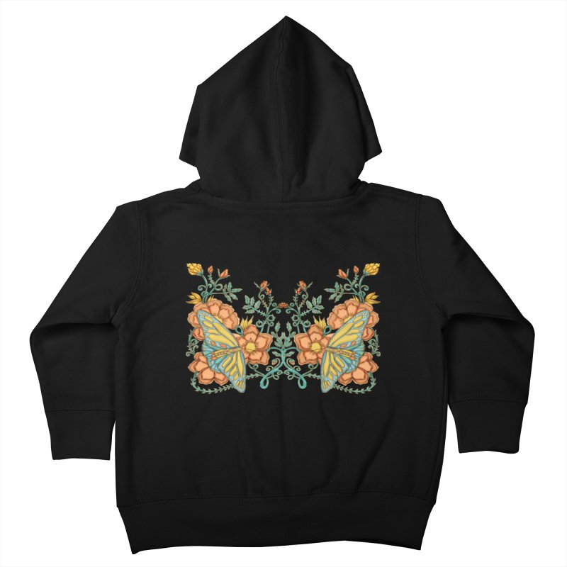 Butterflies in Flowers and Vines Kids Toddler Zip-Up Hoody by jandeangelis's Artist Shop