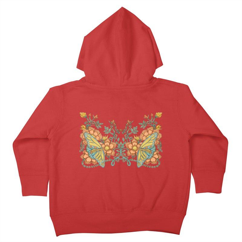 Butterflies in Flowers and Vines Kids Toddler Zip-Up Hoody by jandeangelis's Artist Shop