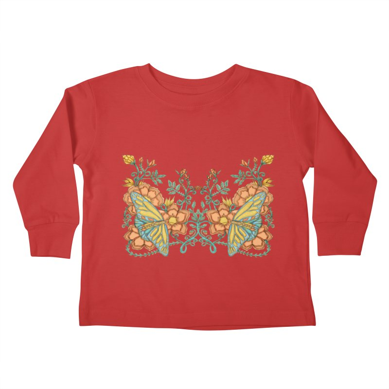 Butterflies in Flowers and Vines Kids Toddler Longsleeve T-Shirt by jandeangelis's Artist Shop