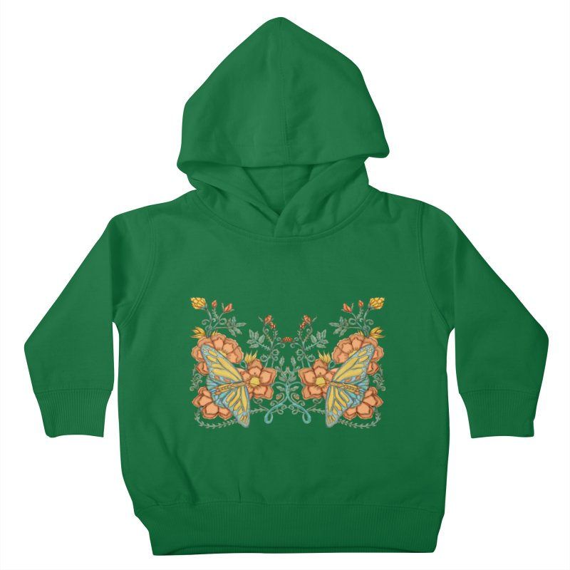 Butterflies in Flowers and Vines Kids Toddler Pullover Hoody by jandeangelis's Artist Shop