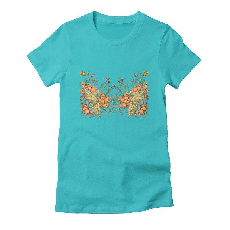 Butterflies in Flowers and Vines Women's T-Shirt by jandeangelis's Artist Shop