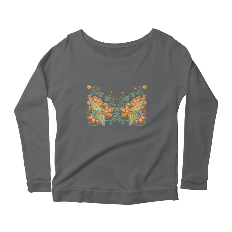 Butterflies in Flowers and Vines Women's Longsleeve Scoopneck  by jandeangelis's Artist Shop