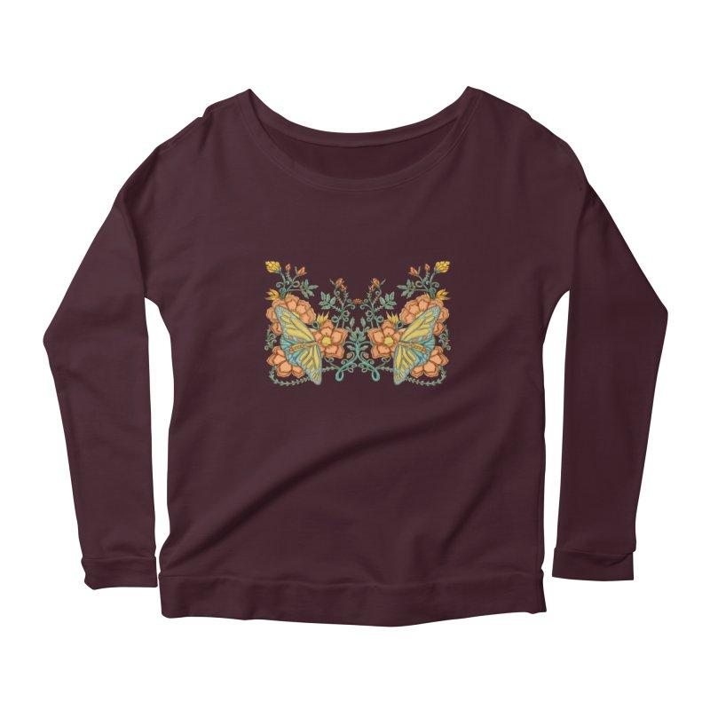 Butterflies in Flowers and Vines Women's Scoop Neck Longsleeve T-Shirt by jandeangelis's Artist Shop