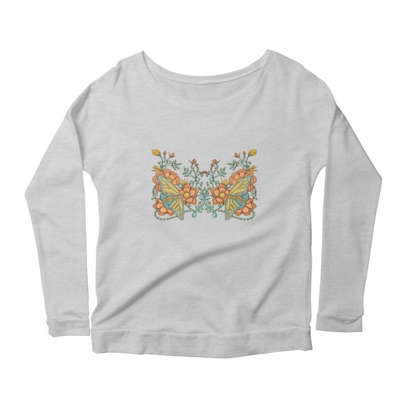 Butterflies in Flowers and Vines Women's Longsleeve Scoopneck  by jandeangelis's Artist Shop
