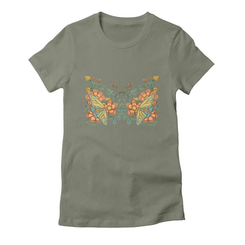Butterflies in Flowers and Vines Women's Fitted T-Shirt by jandeangelis's Artist Shop