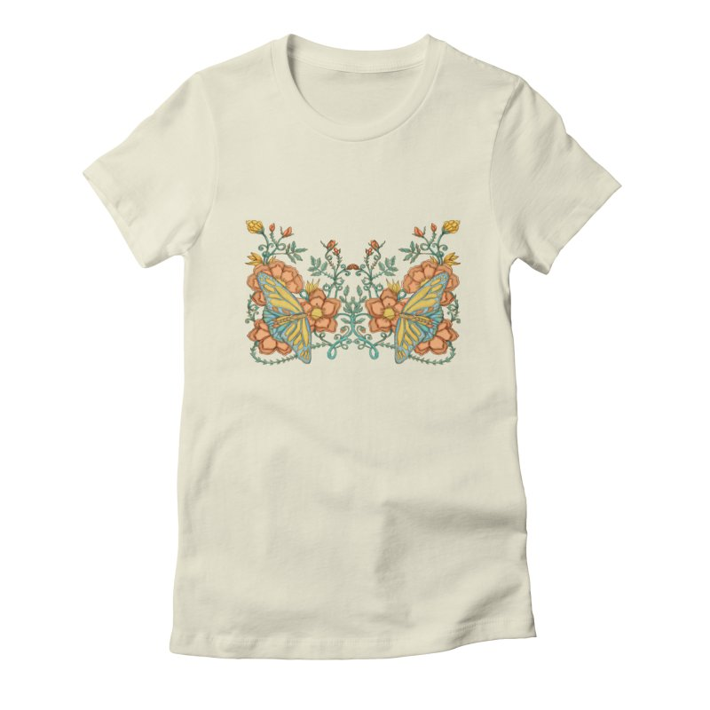 Butterflies in Flowers and Vines Women's T-Shirt by jandeangelis's Artist Shop