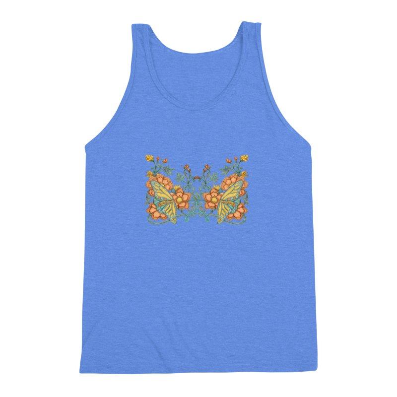 Butterflies in Flowers and Vines Men's Triblend Tank by jandeangelis's Artist Shop