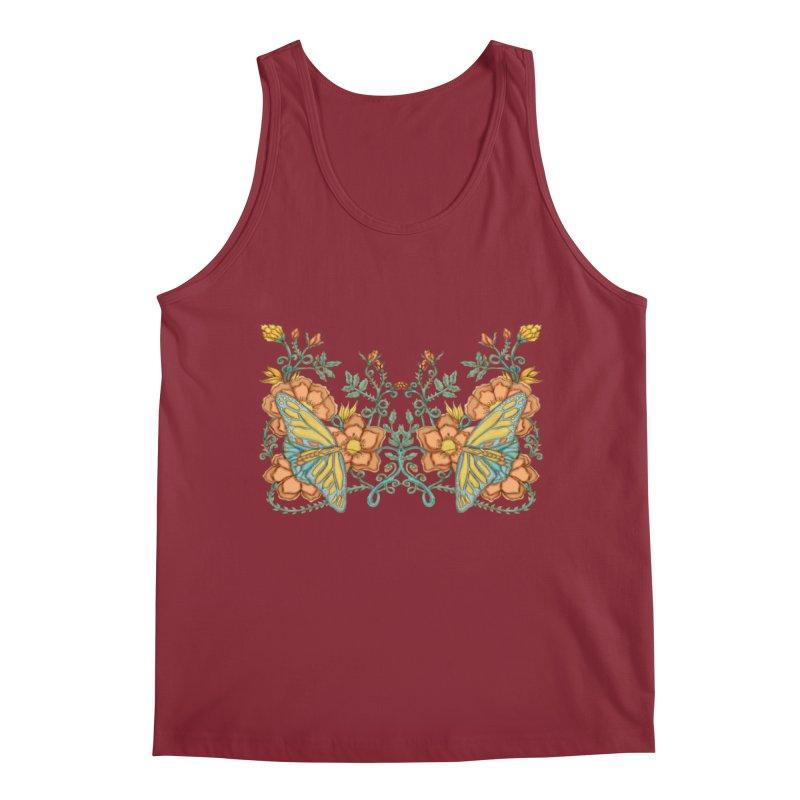 Butterflies in Flowers and Vines Men's Tank by jandeangelis's Artist Shop