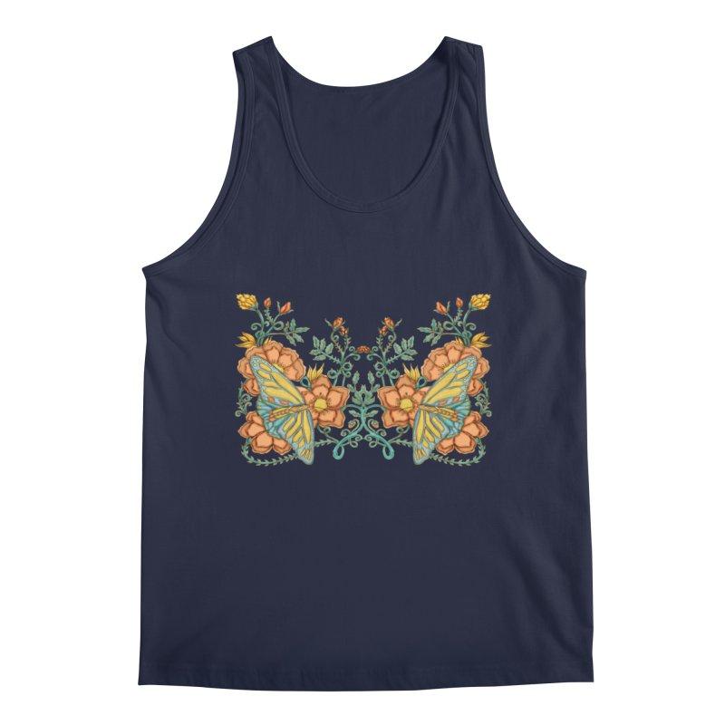 Butterflies in Flowers and Vines Men's Regular Tank by jandeangelis's Artist Shop