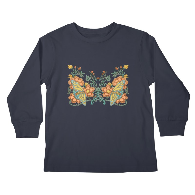 Butterflies in Flowers and Vines Kids Longsleeve T-Shirt by jandeangelis's Artist Shop