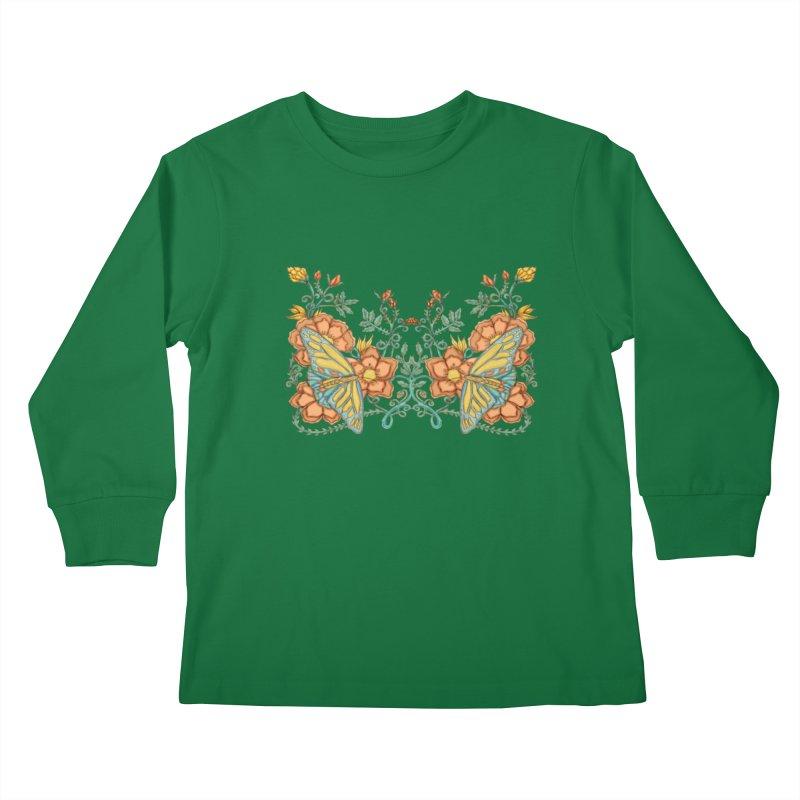 Butterflies in Flowers and Vines Kids Longsleeve T-Shirt by jandeangelis's Artist Shop
