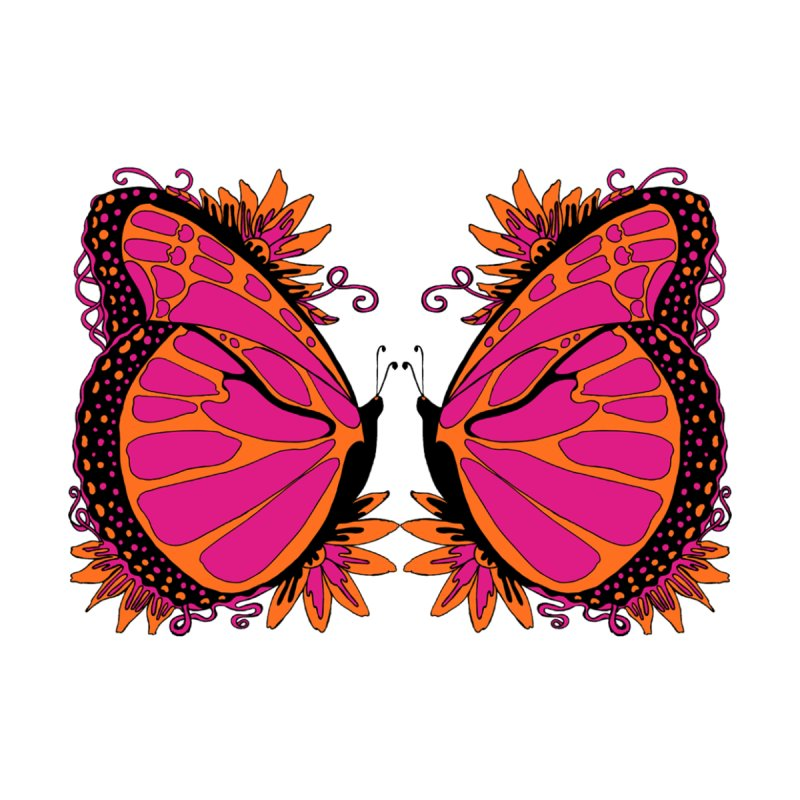 Pink and Orange Polka Dot Butterfly None  by jandeangelis's Artist Shop