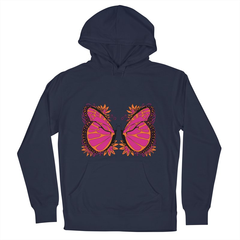 Pink and Orange Polka Dot Butterfly Women's Pullover Hoody by jandeangelis's Artist Shop