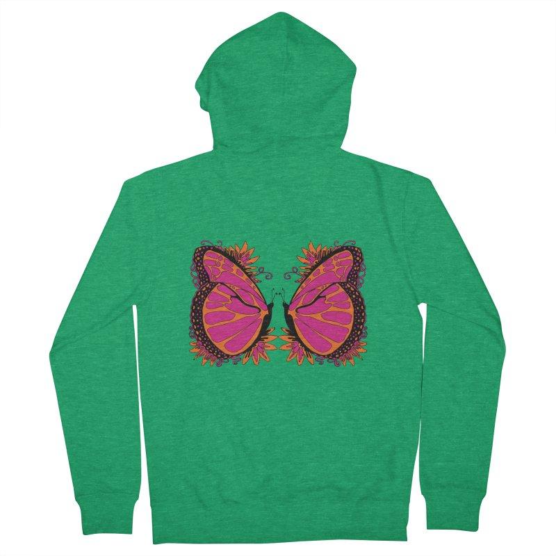 Pink and Orange Polka Dot Butterfly Women's Zip-Up Hoody by jandeangelis's Artist Shop