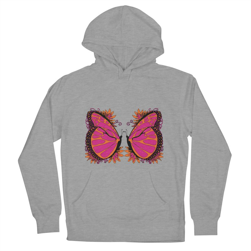 Pink and Orange Polka Dot Butterfly Women's French Terry Pullover Hoody by jandeangelis's Artist Shop