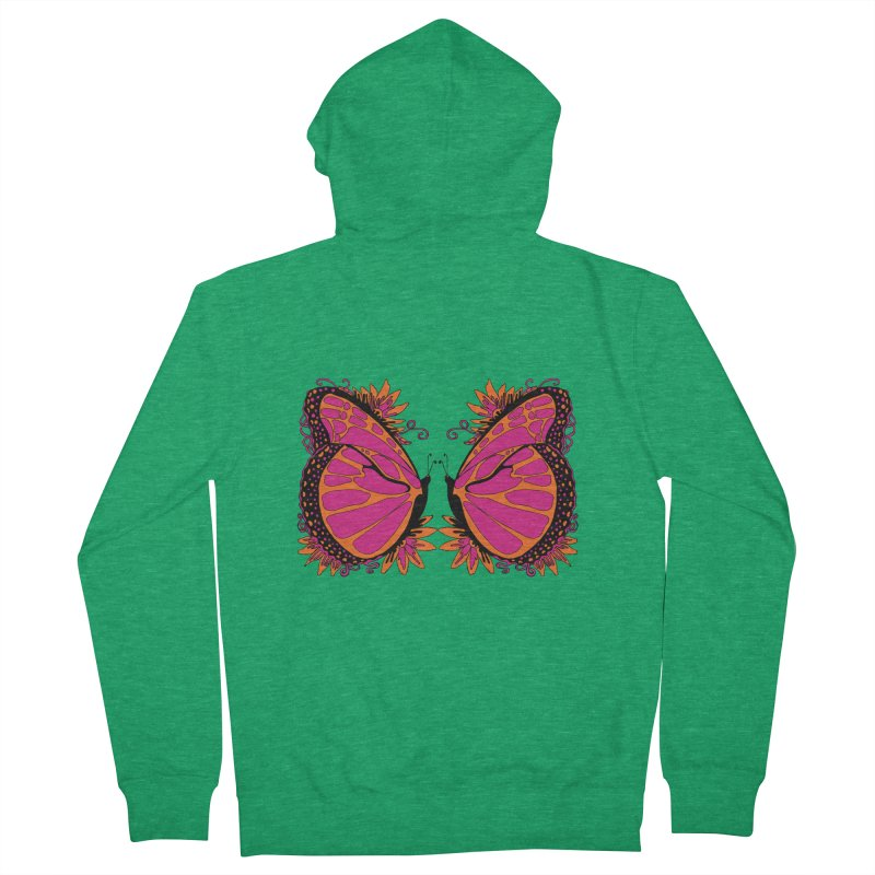 Pink and Orange Polka Dot Butterfly Women's French Terry Zip-Up Hoody by jandeangelis's Artist Shop