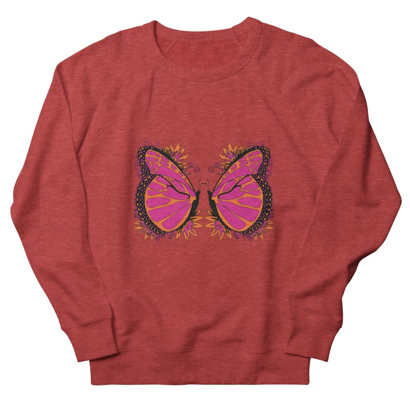 Pink and Orange Polka Dot Butterfly Women's French Terry Sweatshirt by jandeangelis's Artist Shop